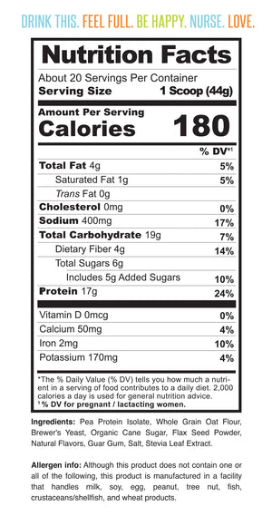 Nutrition facts for Milk Drunk Salted Caramel breastfeeding protein powder for nursing and pumping mamas with brewer's yeast, oat flour and flaxseed