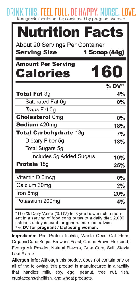 Nutrition facts for Milk Drunk Chocolate protein powder for breastfeeding