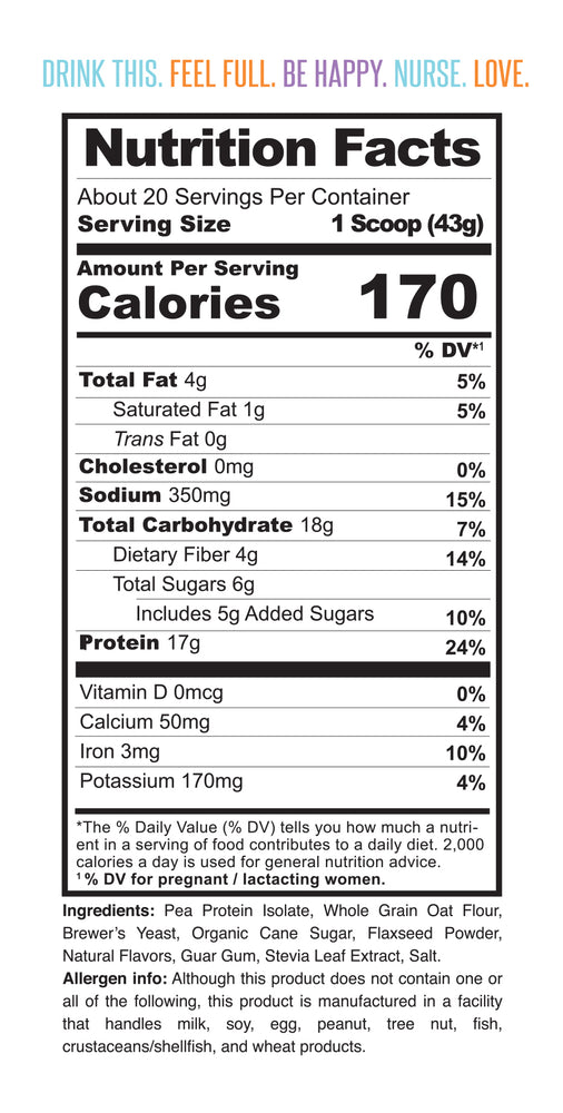 Nutrition facts for Milk Drunk Mocha breastfeeding protein powder for nursing and pumping mamas with brewer's yeast, oat flour and flaxseed