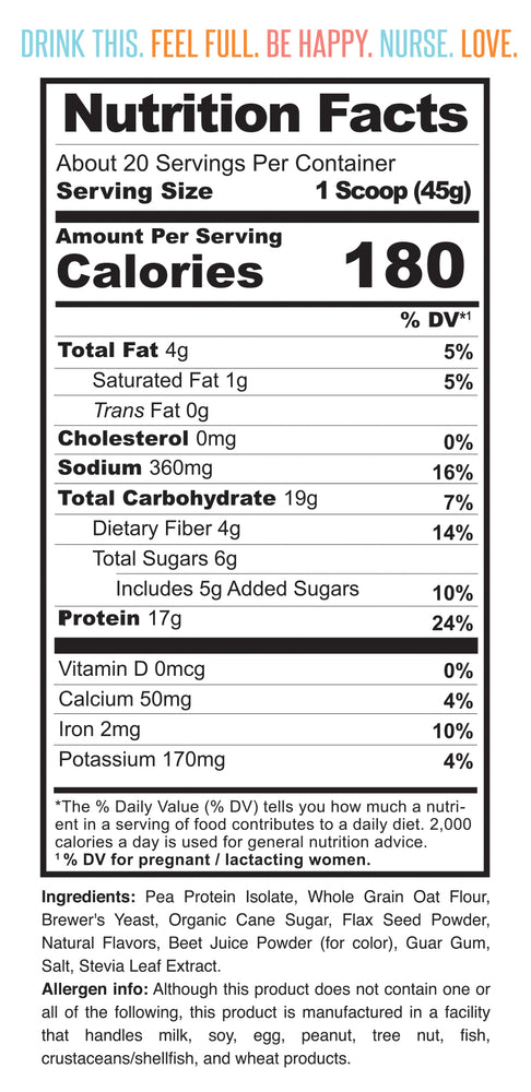 Nutrition facts for Milk Drunk Strawberry breastfeeding protein powder for lactation with brewer's yeast, oat flour and flaxseed