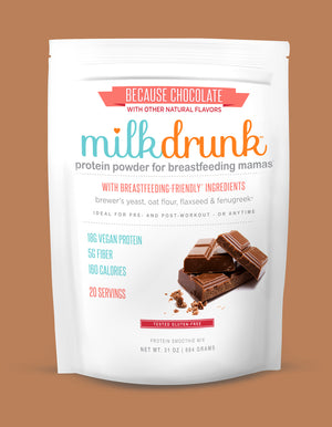 Milk Drunk Chocolate protein powder for breastfeeding mamas with fenugreek, brewer's yeast, oat flour and flaxseed