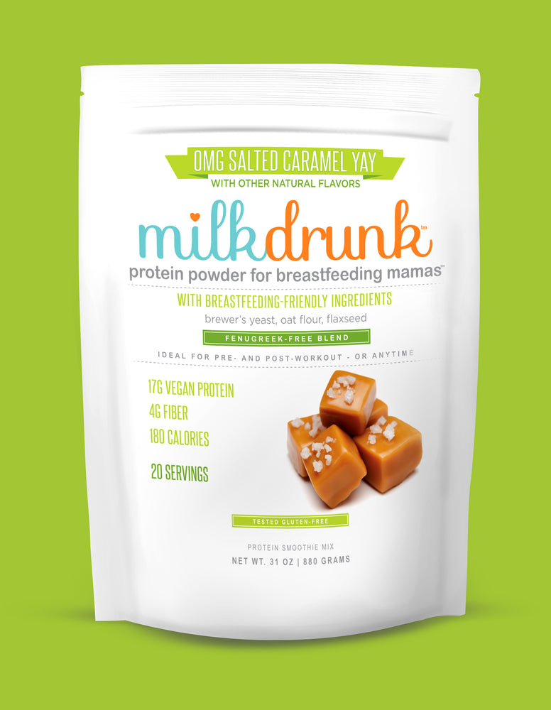 Milk Drunk Salted Caramel breastfeeding protein powder for nursing and pumping mamas with brewer's yeast, oat flour and flaxseed