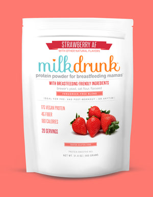 Milk Drunk Strawberry breastfeeding protein powder for lactation with brewer's yeast, oat flour and flaxseed