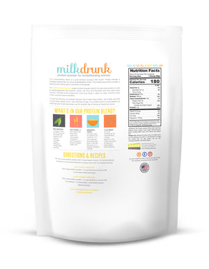 Milk Drunk Vanilla protein powder for breastfeeding mamas with brewer's yeast, oat flour and flaxseed