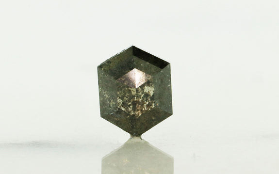 1.23 Carat Hexagon Dark Salt and Pepper Diamond
