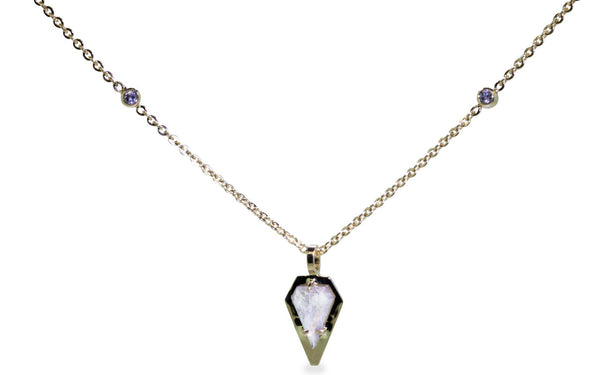 .54 ct light gray diamond necklace worn around neck