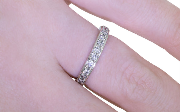 Wedding Band with 16 Gray 2mm Diamonds with diamond ring