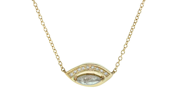 .54ct White Diamond Necklace in Yellow Gold front view