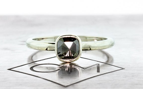 .53 Carat Natural Black Diamond Ring front view on logo