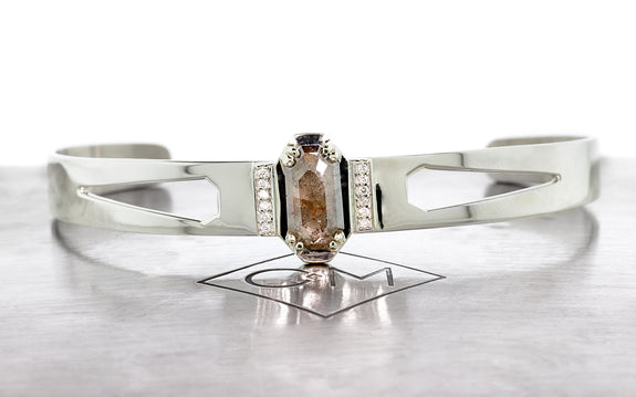MERU Bracelet in White Gold with 1.13 Carat Gray and Rust Diamond
