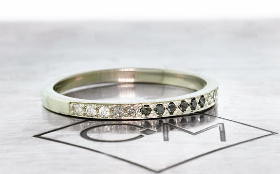 Ombre Wedding Band with 16 Diamonds side view on logo