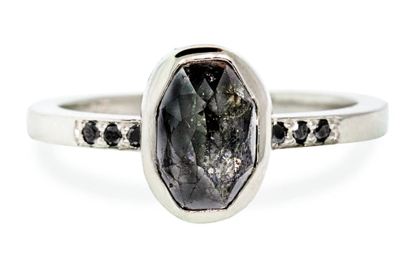2.29 Carat Natural Black Diamond in White Gold rotating view