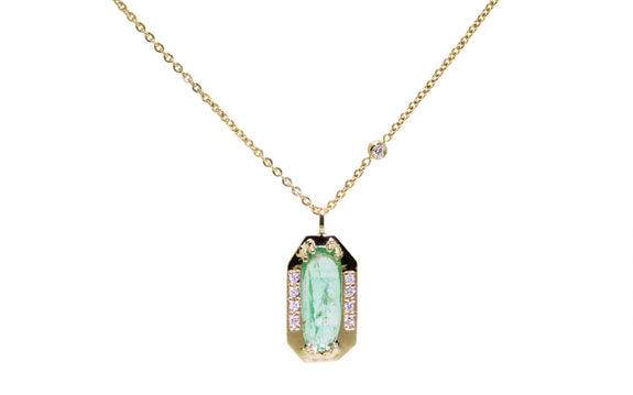 KIKAI Necklace in Yellow Gold with 1.30 Carat Emerald