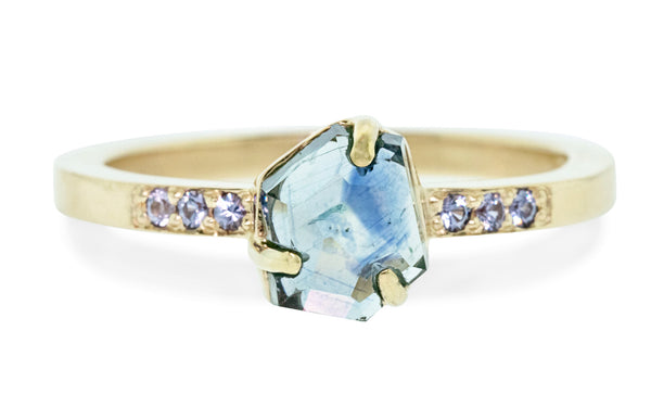1.37 Carat Hand-Cut Blue Montana Sapphire Ring rotating view