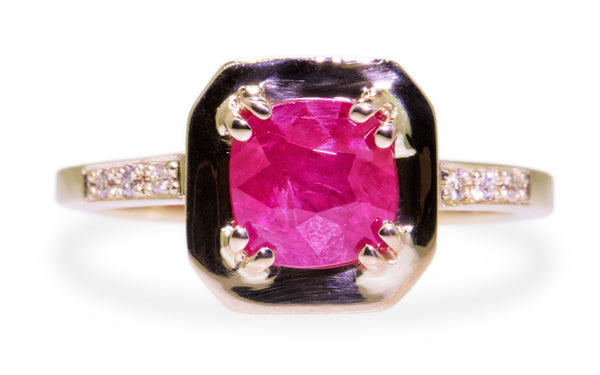 KIKAI Ring in Yellow Gold with 1.59 Carat Ruby