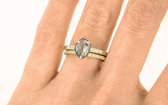 1.20 Carat Double-Cut Montana Sapphire Ring on a hand with band