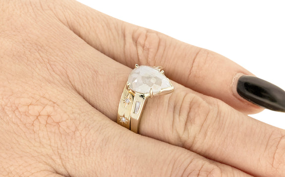 4.80 Carat Icy White Diamond Ring on a hand with wedding band