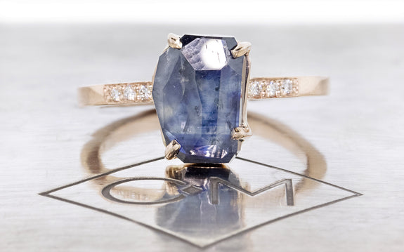 3.08 Carat Hand-Cut Sapphire Ring front view on logo
