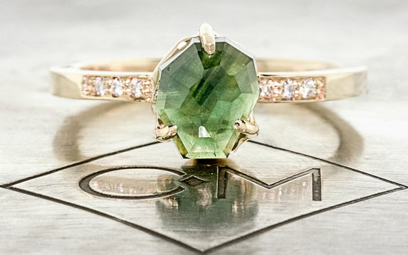 2.11 Carat Hand-Cut Green Sapphire Ring rotating view on logo
