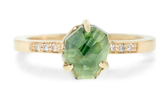 2.11 Carat Hand-Cut Green Sapphire Ring rotating view