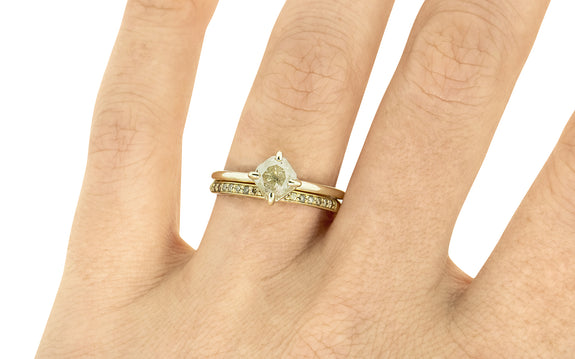 1 Carat Rustic Gray Diamond Ring on a hand with wedding ring