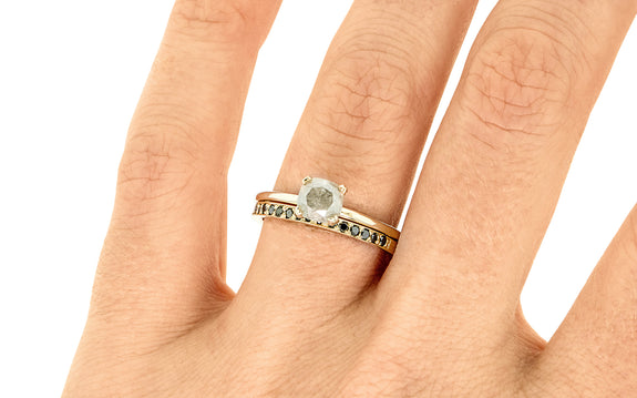 1.14 Carat Rustic Gray Diamond Ring on a hand with wedding band