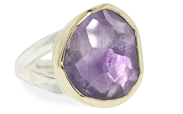 7.43 Carat Hand-Cut Amethyst Ring in Yellow Gold and Silver rotating view