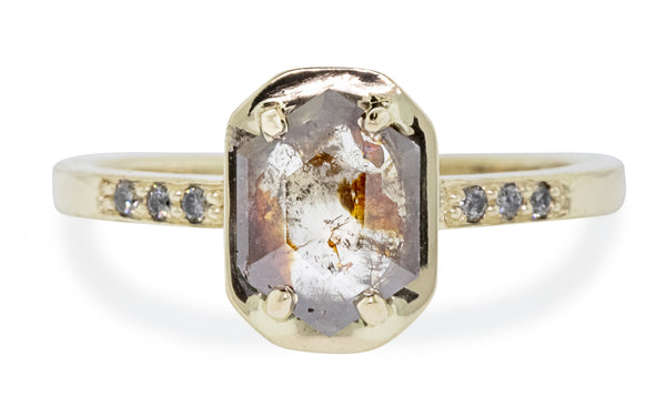 AIRA Ring in Yellow Gold with .61 Carat Cognac Diamond rotating view on logo