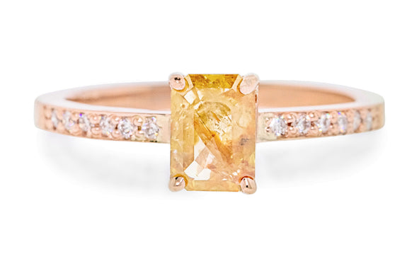 .92 Carat Amber Diamond Ring in Rose Gold rotating view