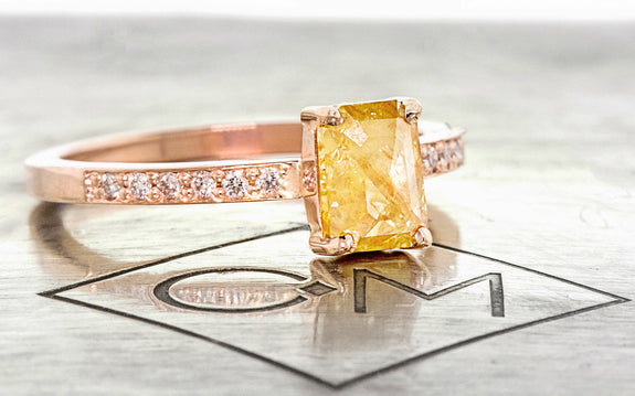 .92 Carat Amber Diamond Ring in Rose Gold three quarter view on logo