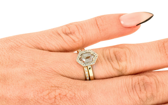.79 Carat Rustic Peach/Gray Diamond Ring with Diamond Halo stacked on hand with wedding band