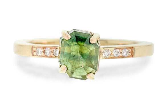 1.86 Carat Hand-Cut Green Sapphire Ring front view with white diamonds in the band