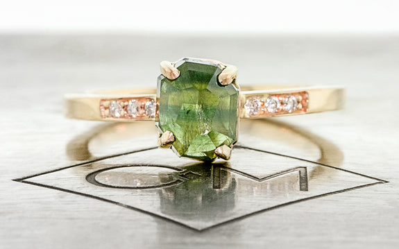1.86 Carat Hand-Cut Green Sapphire Ring rotating view on logo