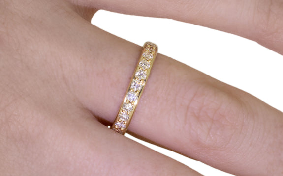 Wedding Band with 16 White 2mm Diamonds side view on logo
