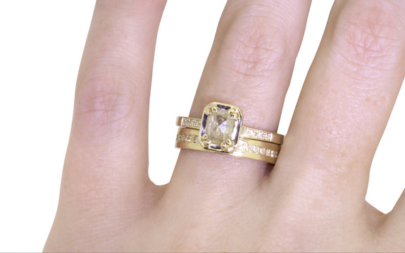 .71ct light champagne diamond ring side view