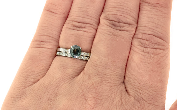 1.15 Carat Vibrant Teal Sapphire Ring in White Gold