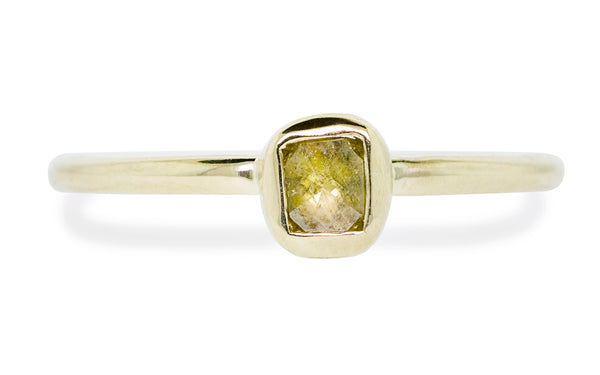 .23 carat champagne diamond bezel set in yellow gold front view on white background