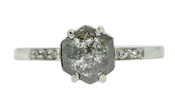 1.44 carat salt and pepper diamond ring with three pave diamonds on each side set in 14 karat white gold front view on white background