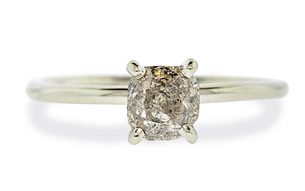 1.15 carat rustic champagne diamond set in 14 karat white gold front view on white background