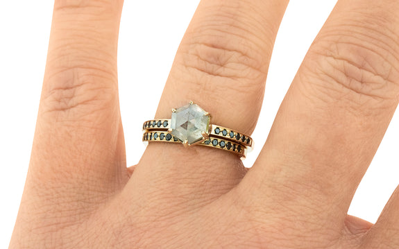 1.71 Carat Glowing Gray Diamond Ring in Yellow Gold