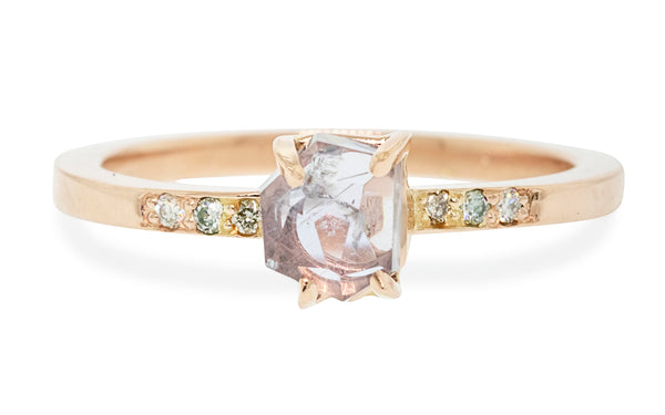 .84 Carat Hand-Cut Light Blue/Violet Montana Sapphire Ring in Rose Gold