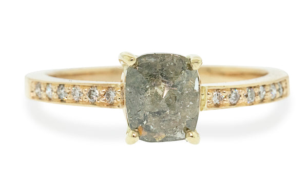 1.27 Carat Rustic Gray Diamond Ring in Yellow Gold