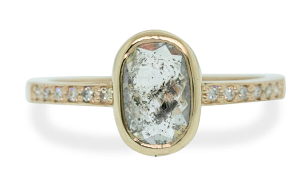 1.22 Carat Sparkling Salt & Pepper Diamond Ring in Yellow Gold
