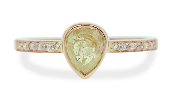 1.23 Carat Frosty Champagne Diamond Ring in Rose Gold