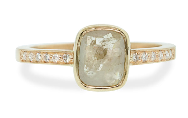 1.28 Carat Warm Gray Diamond Ring in Yellow Gold