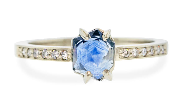 .86 Carat Hand-Cut Lakeside Blue Montana Sapphire Ring in White Gold
