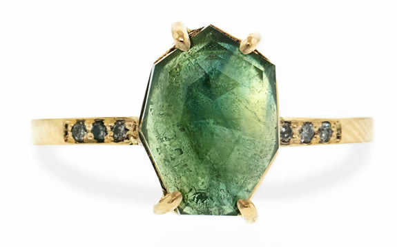 4.00 Carat Hand-Cut Forest Green Sapphire Ring in Yellow Gold