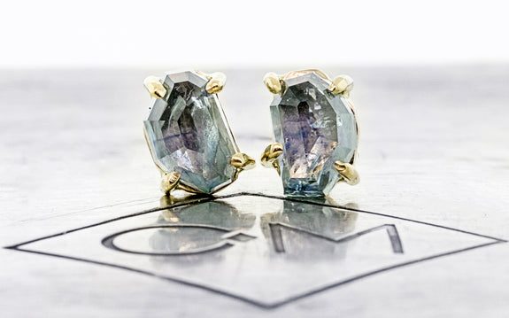 1.95 ctw Pair of Hand-Cut Cloudburst Blue Montana Sapphire Studs in Yellow Gold