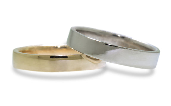 Women's 4mm Flat Band worn by model