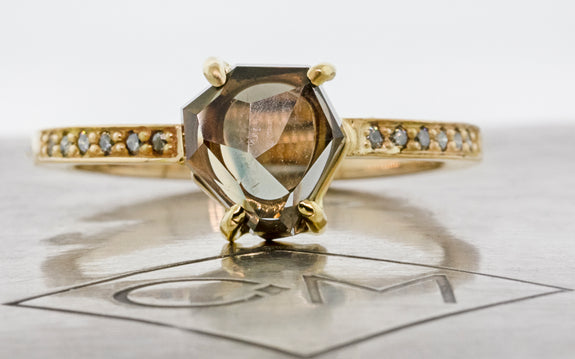 1.68 Carat Sherry Wine Songea Sapphire Ring in Yellow Gold